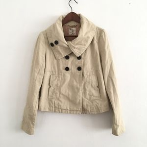Tulle Anthropologie Double Breasted Twill Jacket